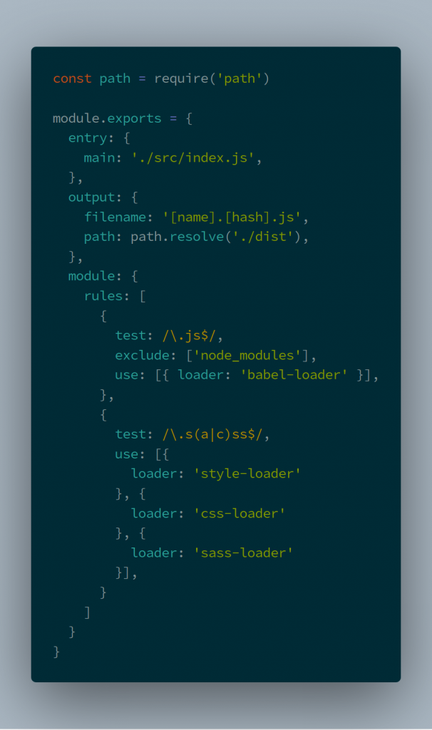 config with sass added